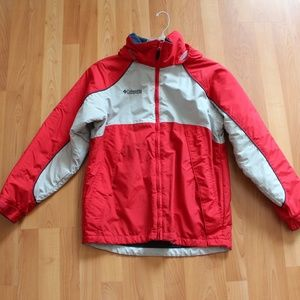 Columbia Kids Youth 14-16 Red Gray Winter Jacket